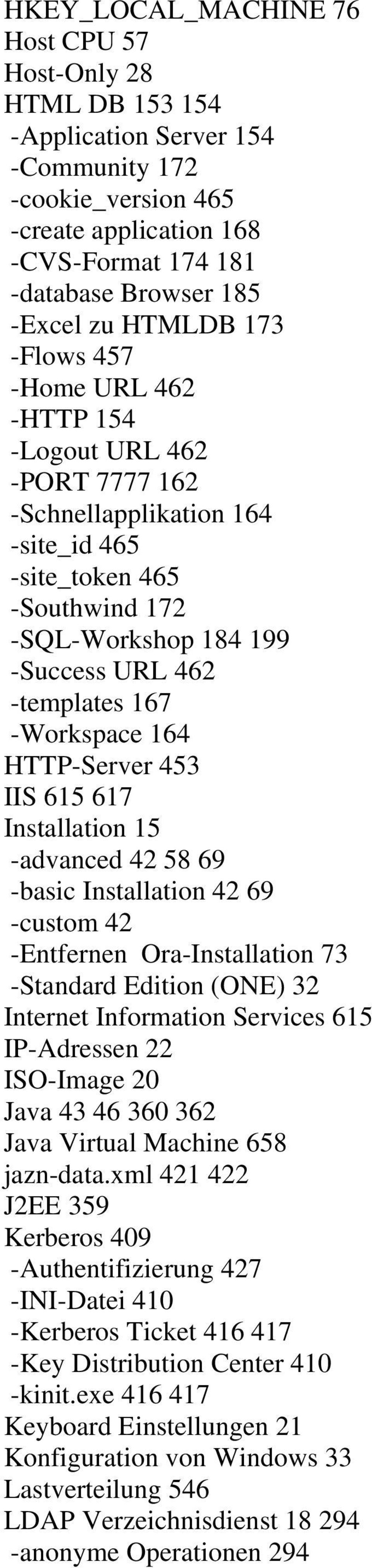-Workspace 164 HTTP-Server 453 IIS 615 617 Installation 15 -advanced 42 58 69 -basic Installation 42 69 -custom 42 -Entfernen Ora-Installation 73 -Standard Edition (ONE) 32 Internet Information