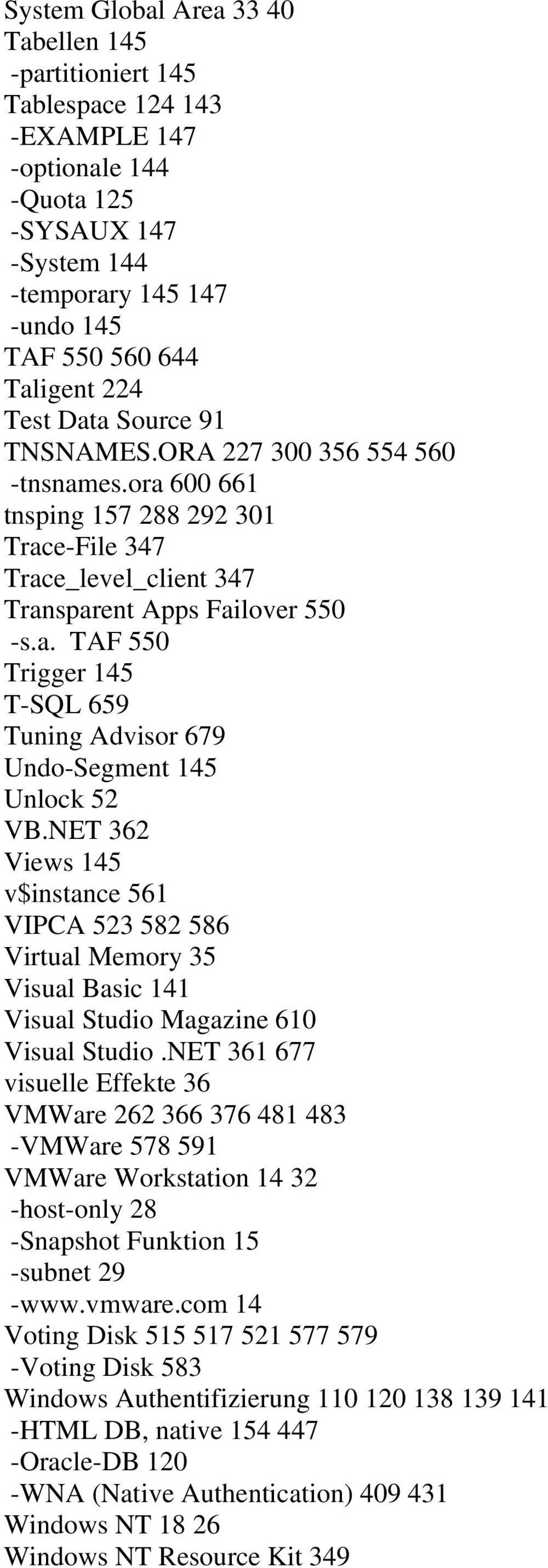 NET 362 Views 145 v$instance 561 VIPCA 523 582 586 Virtual Memory 35 Visual Basic 141 Visual Studio Magazine 610 Visual Studio.