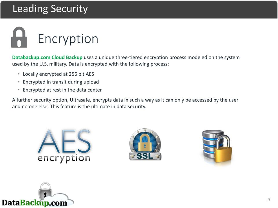 Data is encrypted with the following process: Locally encrypted at 256 bit AES Encrypted in transit during upload