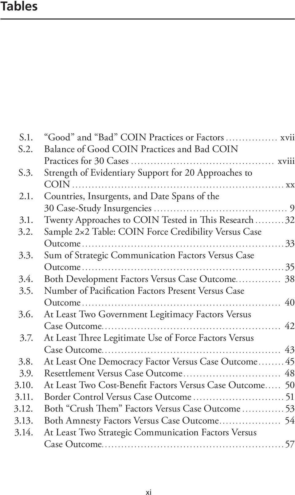 ..32 3.2. Sample 2 2 Table: COIN Force Credibility Versus Case Outcome...33 3.3. Sum of Strategic Communication Factors Versus Case Outcome...35 3.4. Both Development Factors Versus Case Outcome.
