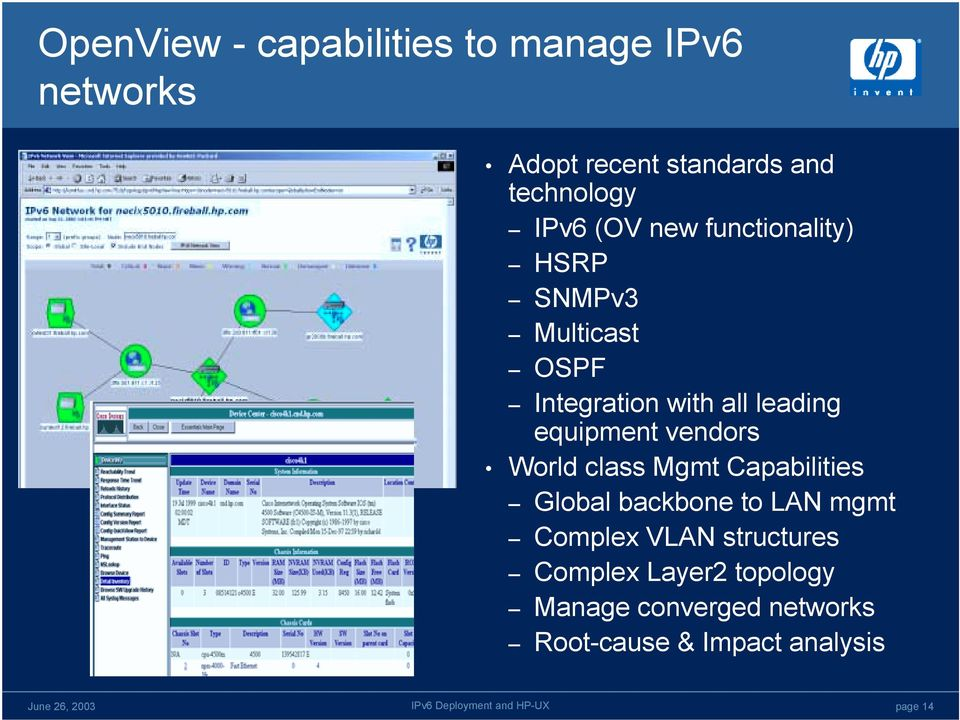 equipment vendors World class Mgmt Capabilities Global backbone to LAN mgmt Complex VLAN