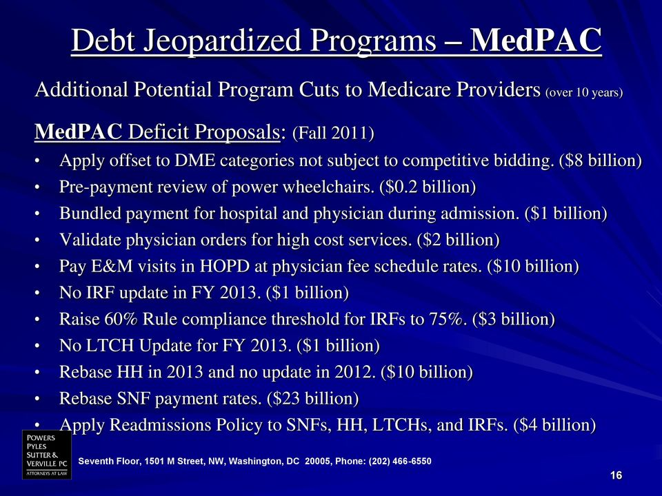 ($1 billion) Validate physician orders for high cost services. ($2 billion) Pay E&M visits in HOPD at physician fee schedule rates. ($10 billion) No IRF update in FY 2013.