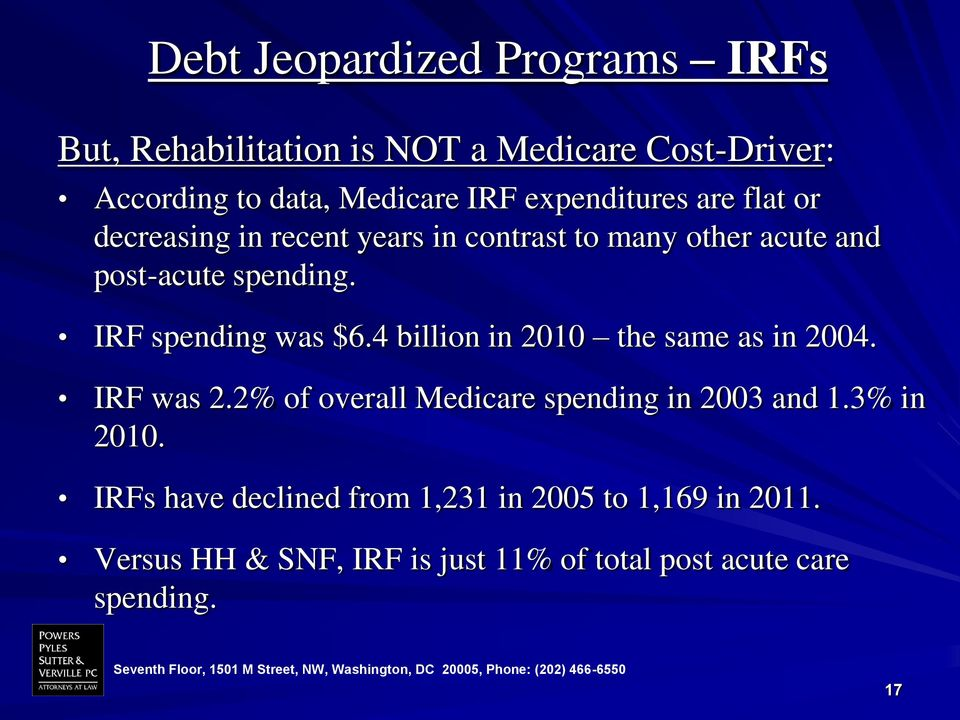IRF spending was $6.4 billion in 2010 the same as in 2004. IRF was 2.2% of overall Medicare spending in 2003 and 1.