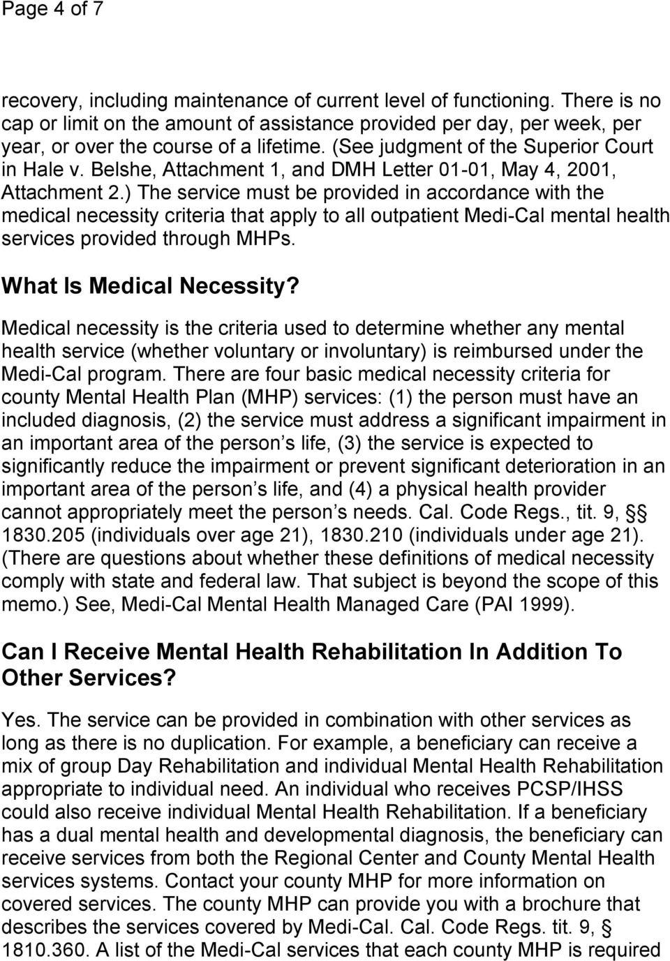 Belshe, Attachment 1, and DMH Letter 01-01, May 4, 2001, Attachment 2.