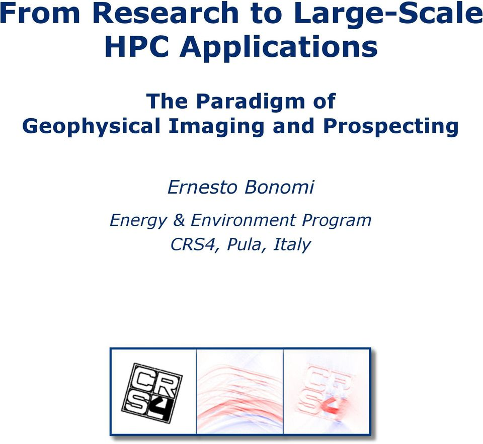 Geophysical Imaging and Prospecting