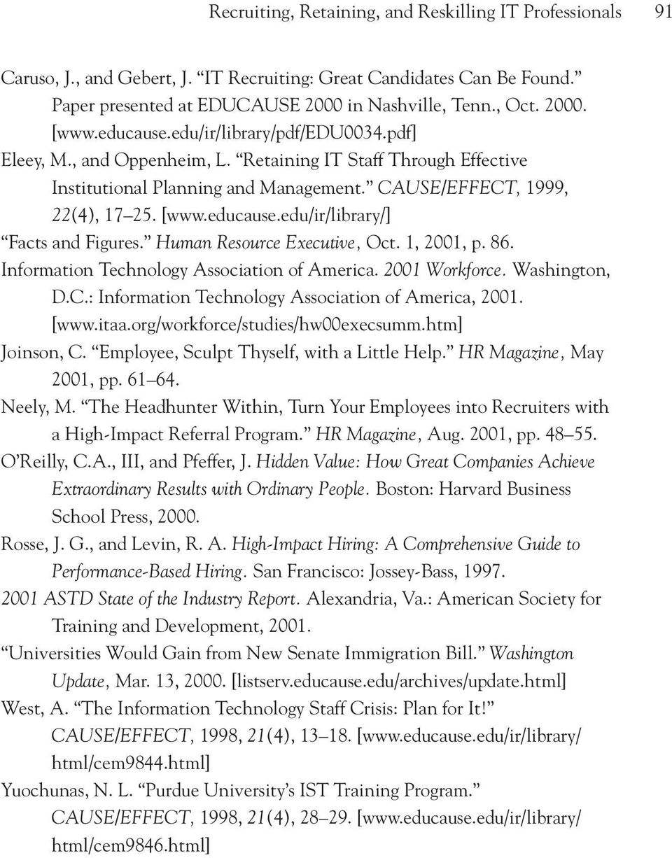 Human Resource Executive, Oct. 1, 2001, p. 86. Information Technology Association of America. 2001 Workforce. Washington, D.C.: Information Technology Association of America, 2001. [www.itaa.