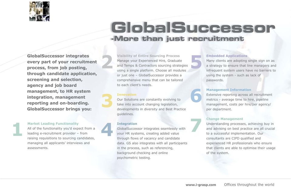 GlobalSuccessor brings you: Market Leading Functionality All of the functionality you d expect from a leading e-recruitment provider from raising requisitions to sourcing candidates, managing all