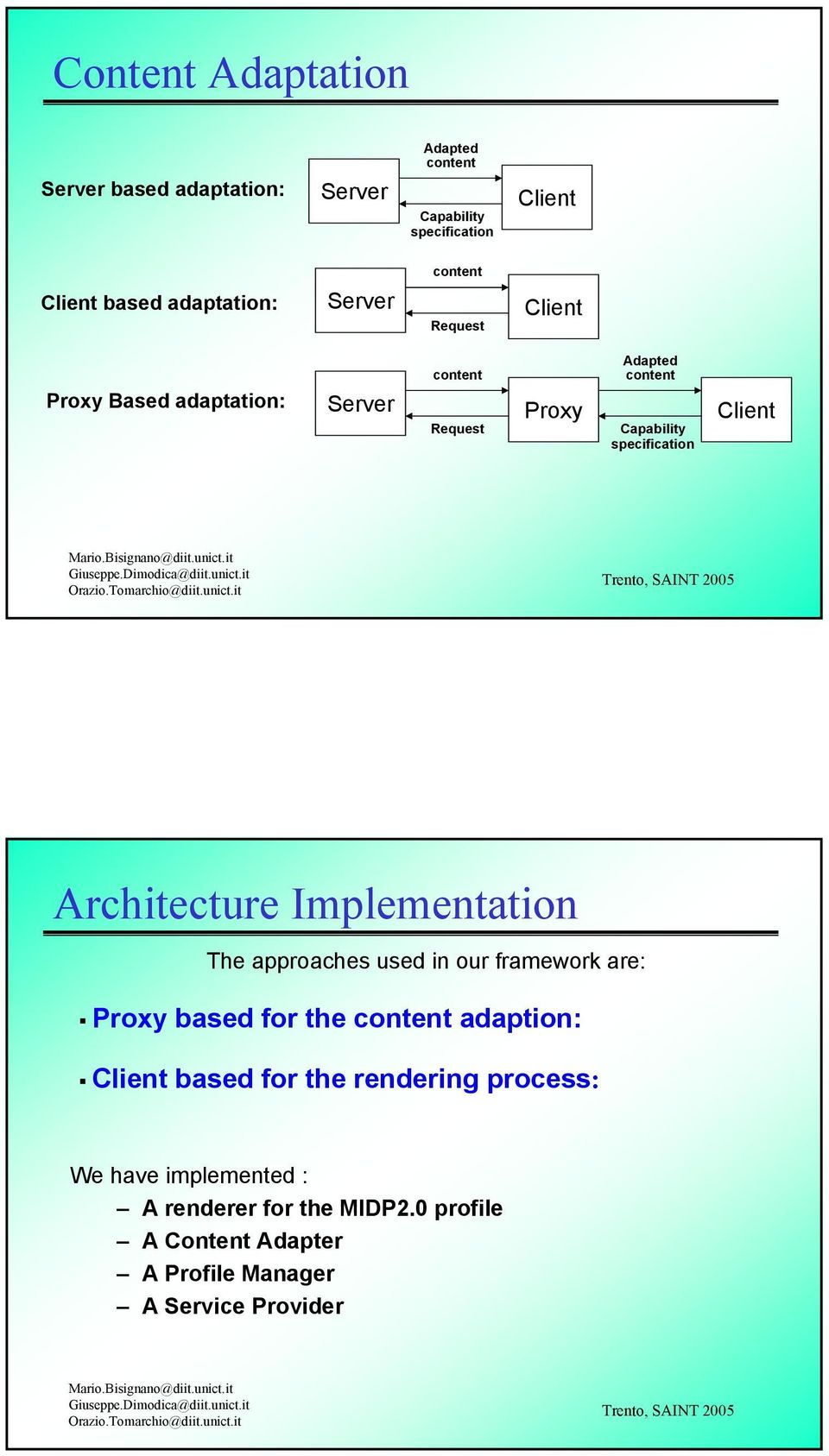 Architecture Implementation The approaches used in our framework are: Proxy based for the content adaption: Client based for