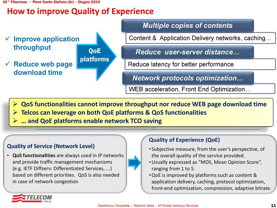 functionalities cannot improve throughput nor reduce WEB page download time Telcos can leverage on both QoE platforms & QoS functionalities and QoE platforms enable network TCO saving Quality of