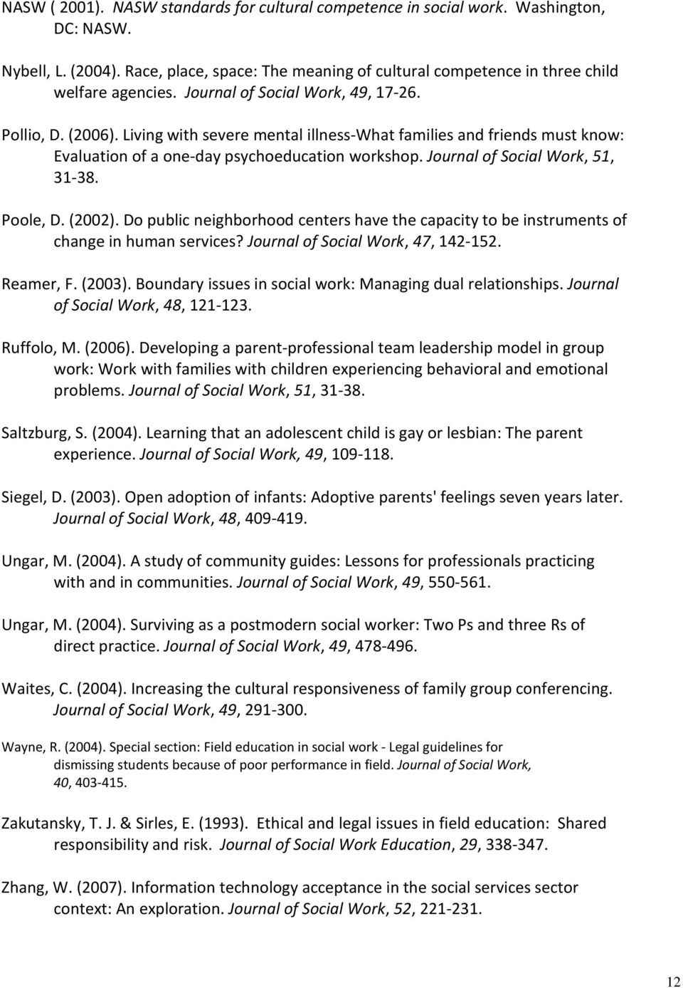 Journal of Social Work, 51, 31-38. Poole, D. (2002). Do public neighborhood centers have the capacity to be instruments of change in human services? Journal of Social Work, 47, 142-152. Reamer, F.