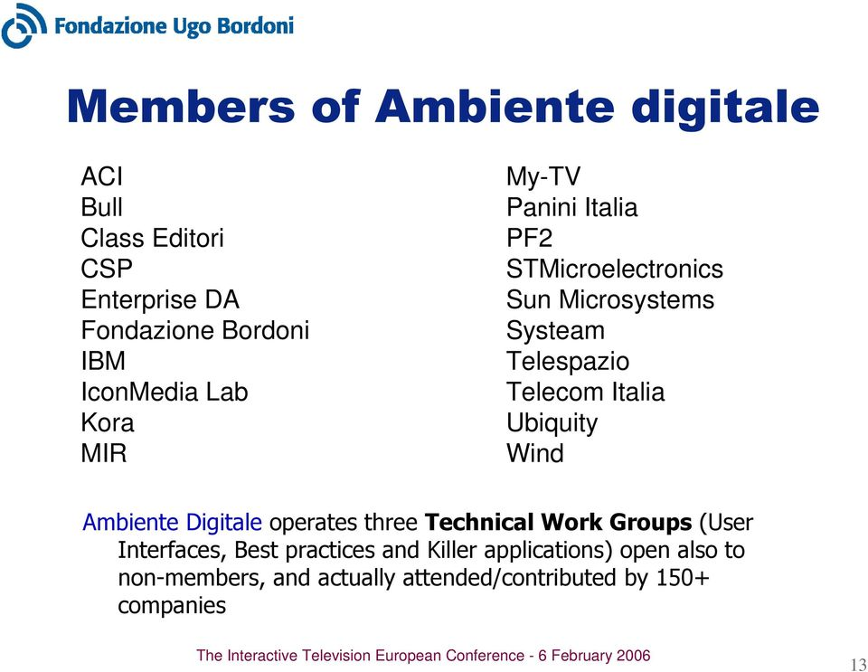 Italia Ubiquity Wind Ambiente Digitale operates three Technical Work Groups (User Interfaces, Best