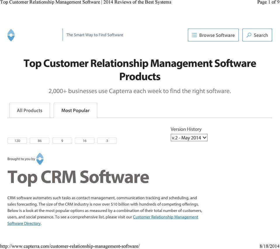 - May 04 Brought to you by Top CRM Software CRM software automates such tasks as contact management, communication tracking and scheduling, and sales forecasting.