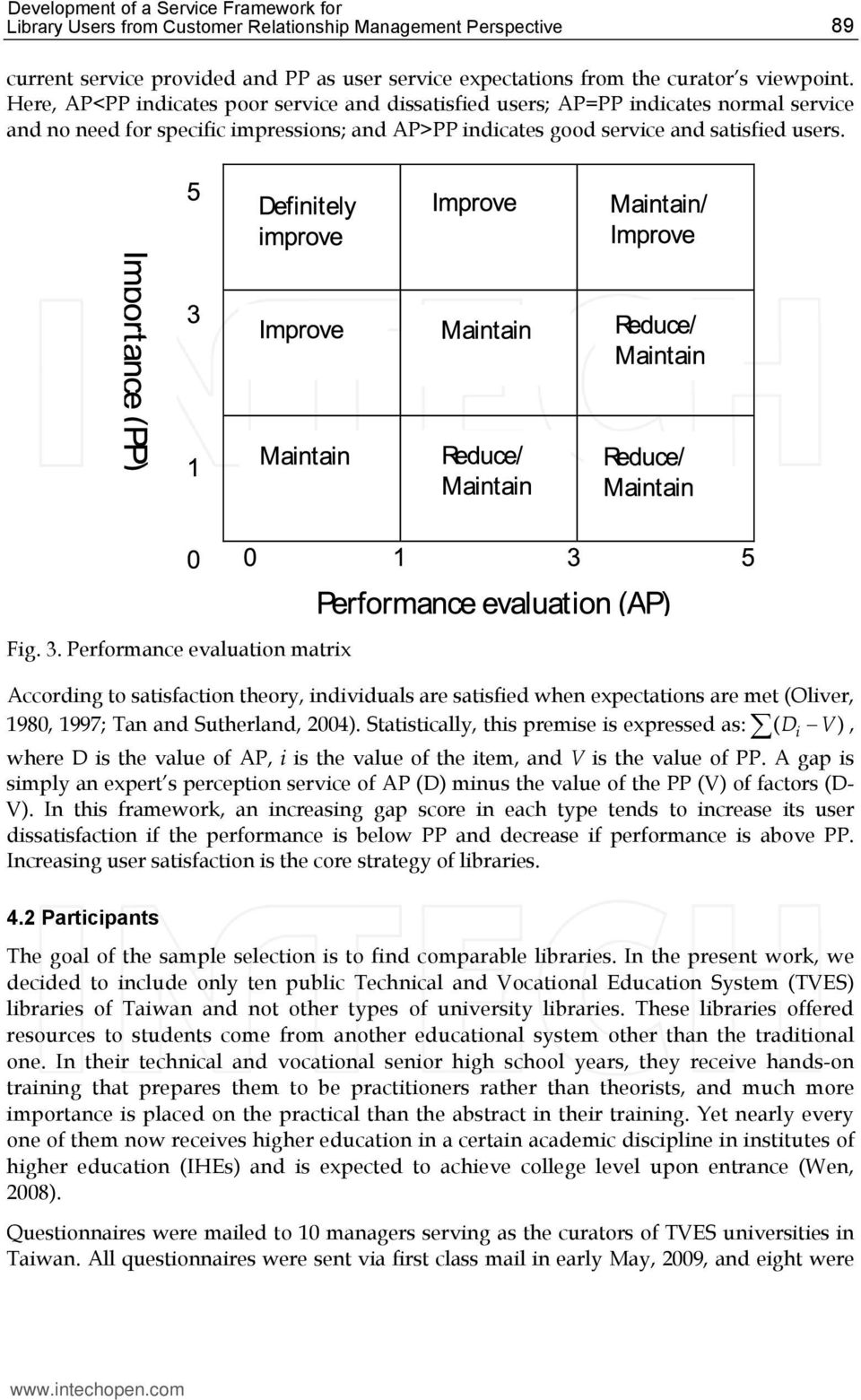 Performance evaluation matrix According to satisfaction theory, individuals are satisfied when expectations are met (Oliver, 1980, 1997; Tan and Sutherland, 2004).