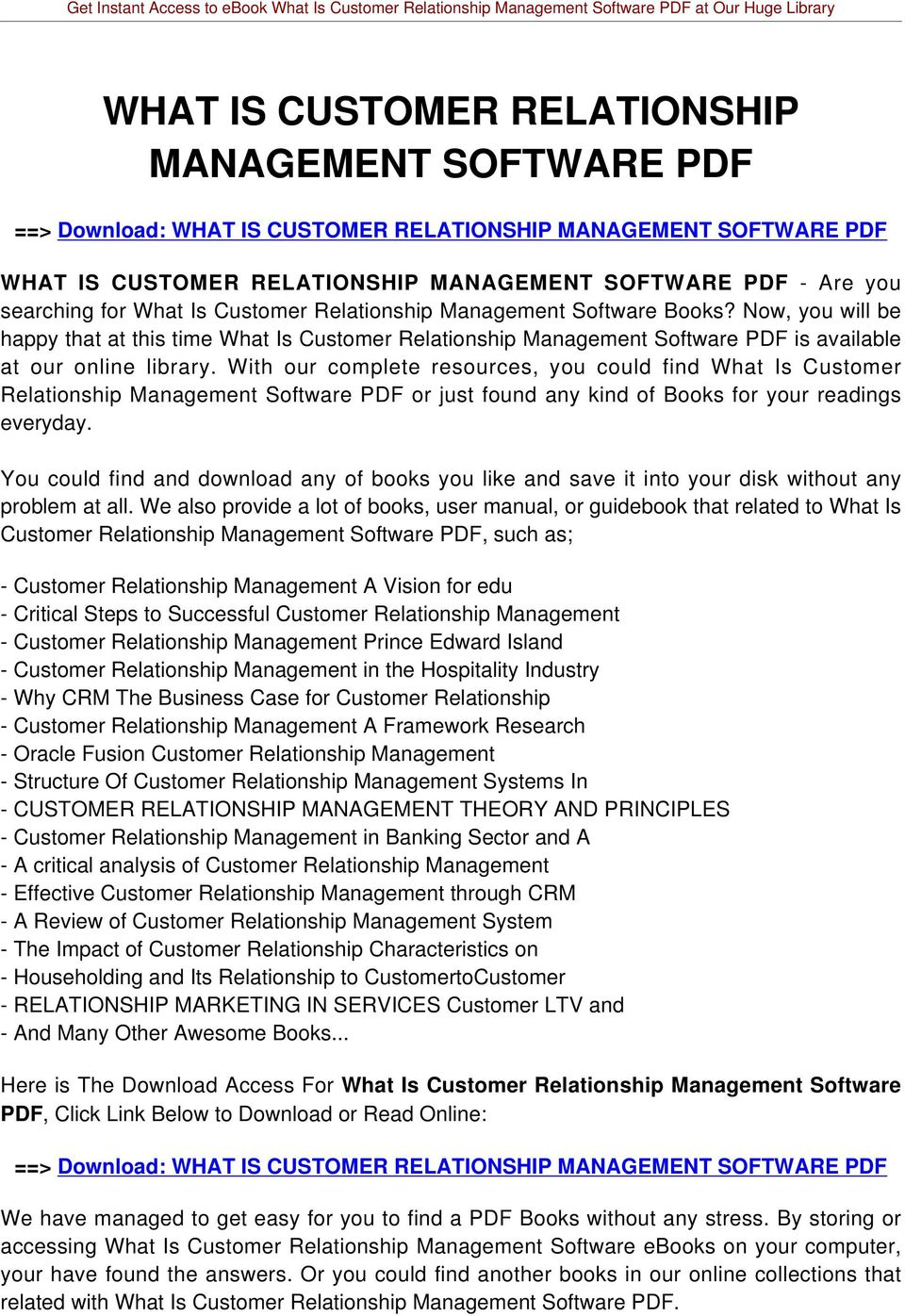 With our complete resources, you could find What Is Customer Relationship Management Software PDF or just found any kind of Books for your readings everyday.