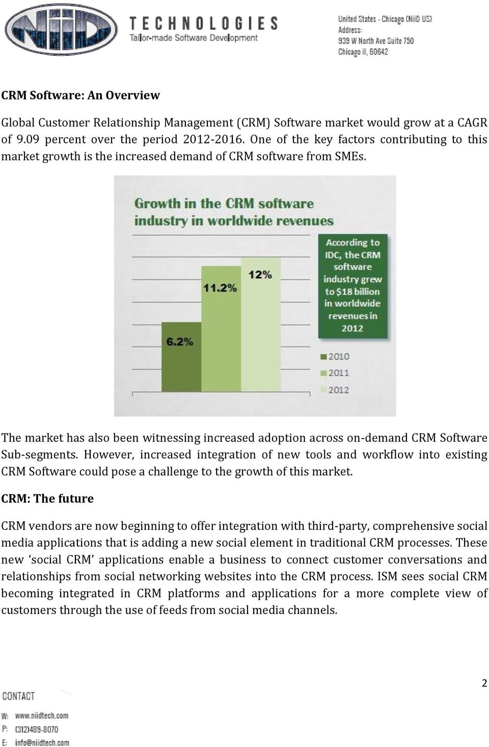 The market has also been witnessing increased adoption across on-demand CRM Software Sub-segments.