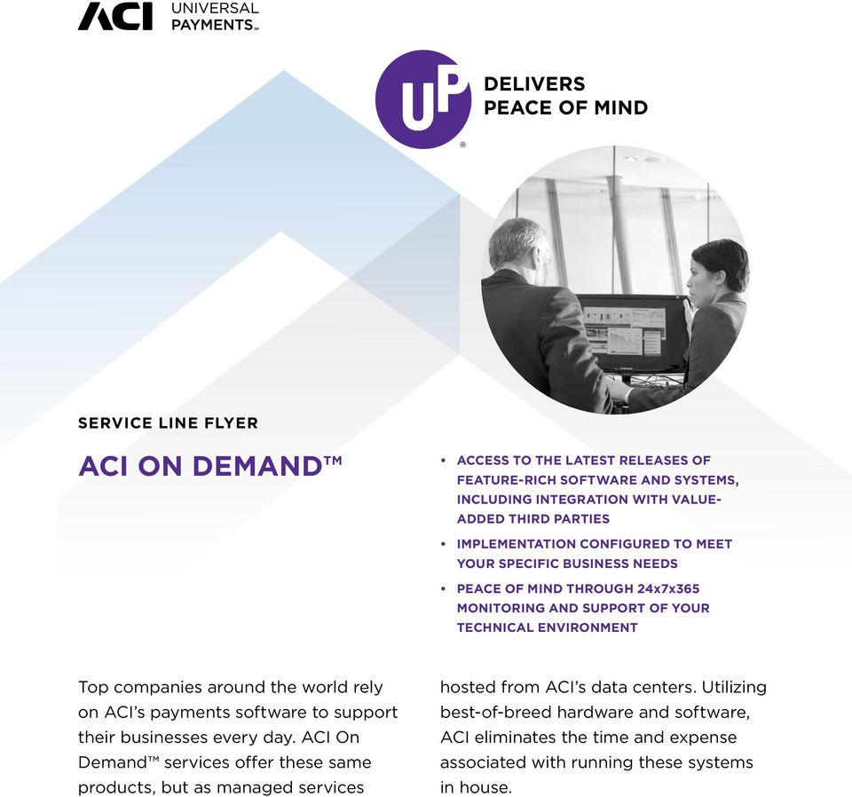 companies around the world rely on ACI s payments software to support their businesses every day.