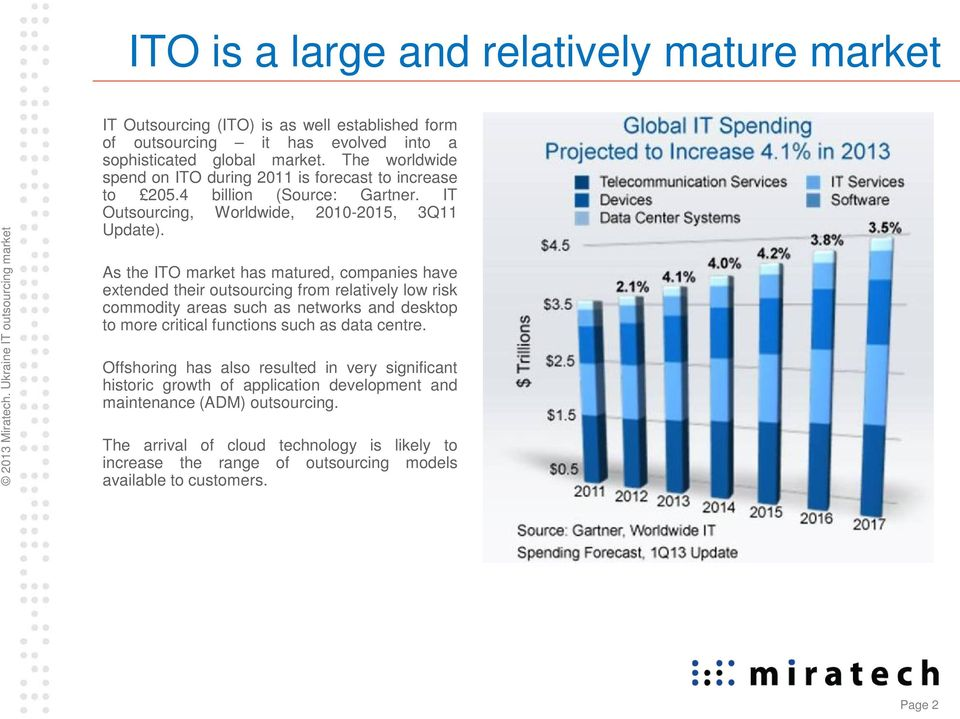 As the ITO market has matured, companies have extended their outsourcing from relatively low risk commodity areas such as networks and desktop to more critical functions such as data