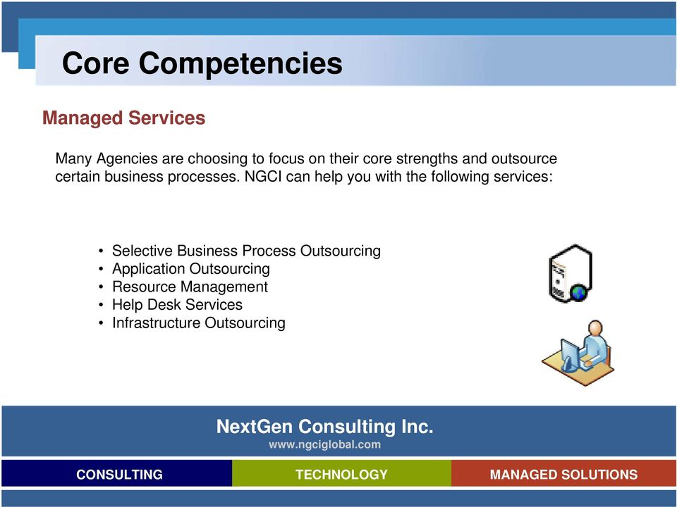 NGCI can help you with the following services: Selective Business Process