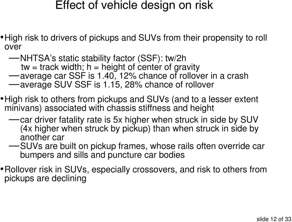 15, 15 28% chance of rollover High risk to others from pickups and SUVs (and to a lesser extent minivans) associated with chassis stiffness and height car driver fatality rate is 5x higher when