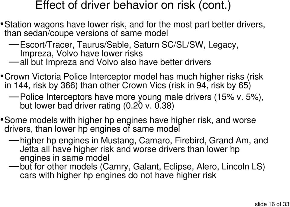 all but Impreza and Volvo also have better drivers Crown Victoria Police Interceptor model has much higher risks (risk in 144, risk by 366) than other Crown Vics (risk in 94, risk by 65) Police