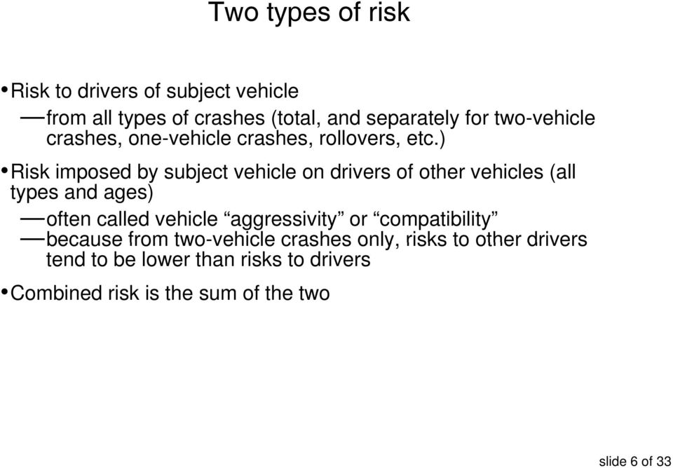 ) Risk imposed by subject vehicle on drivers of other vehicles (all types and ages) often called vehicle