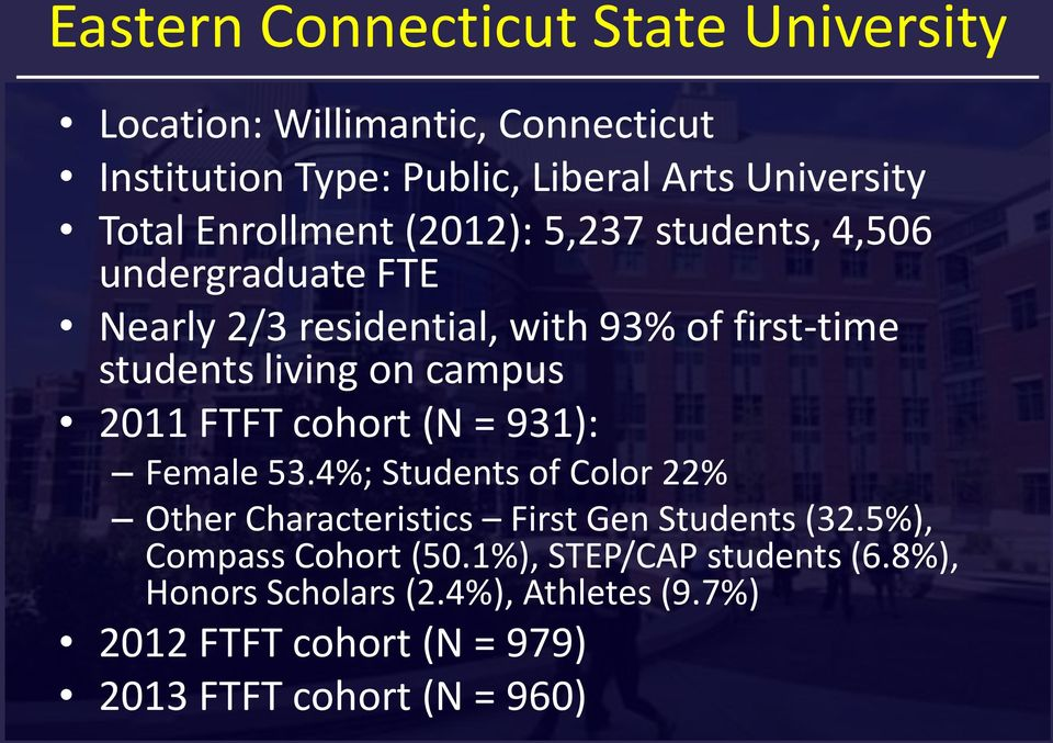 campus 2011 FTFT cohort (N = 931): Female 53.4%; Students of Color 22% Other Characteristics First Gen Students (32.