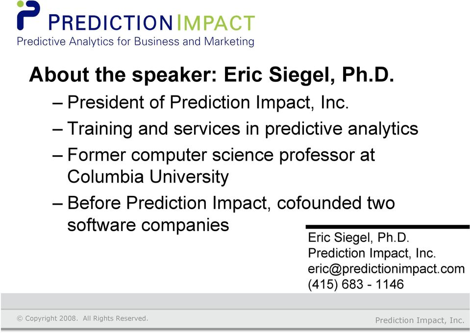 computer science professor at Columbia University Before Prediction