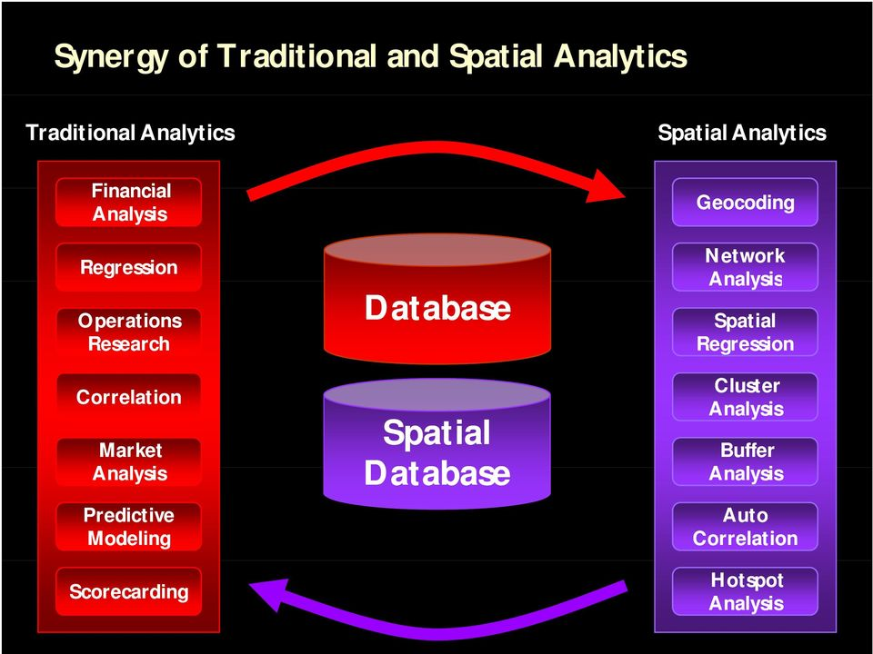 Analysis Predictive Modeling Scorecarding Database Spatial Database Geocoding