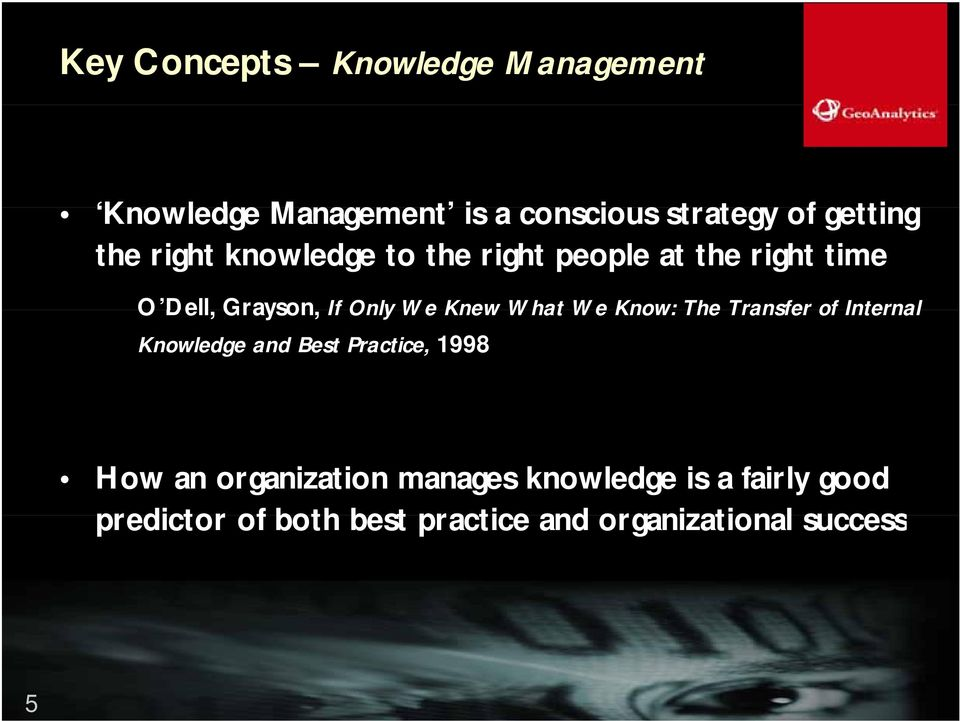 Knew What We Know: The Transfer of Internal Knowledge and Best Practice, 1998 How an