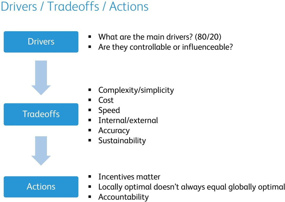 Tradeoffs Complexity/simplicity Cost Speed Internal/external Accuracy