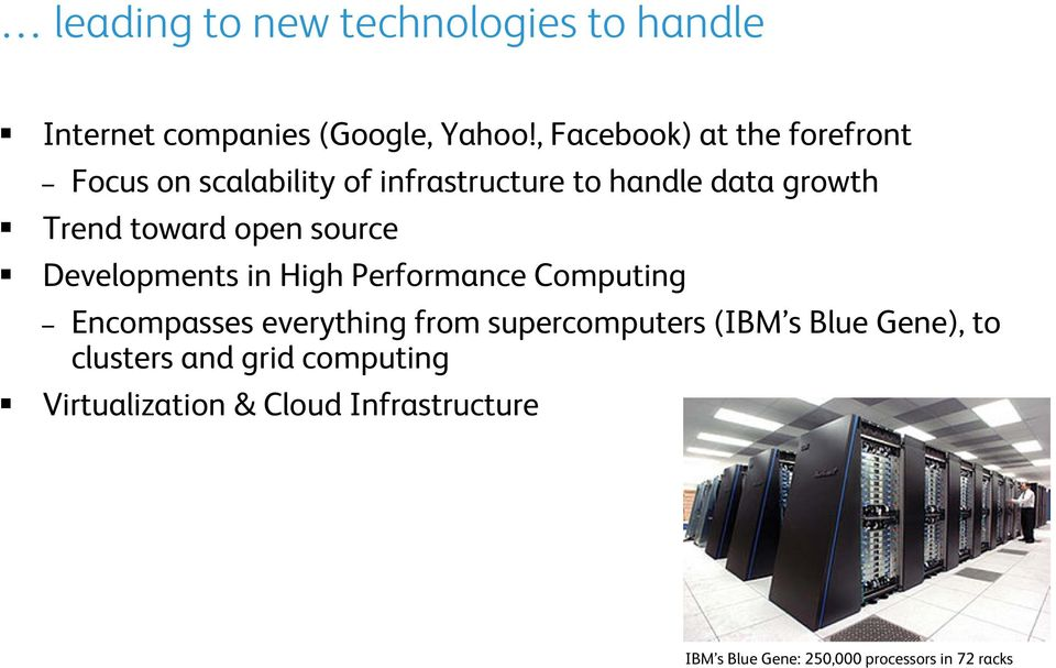 toward open source Developments in High Performance Computing Encompasses everything from