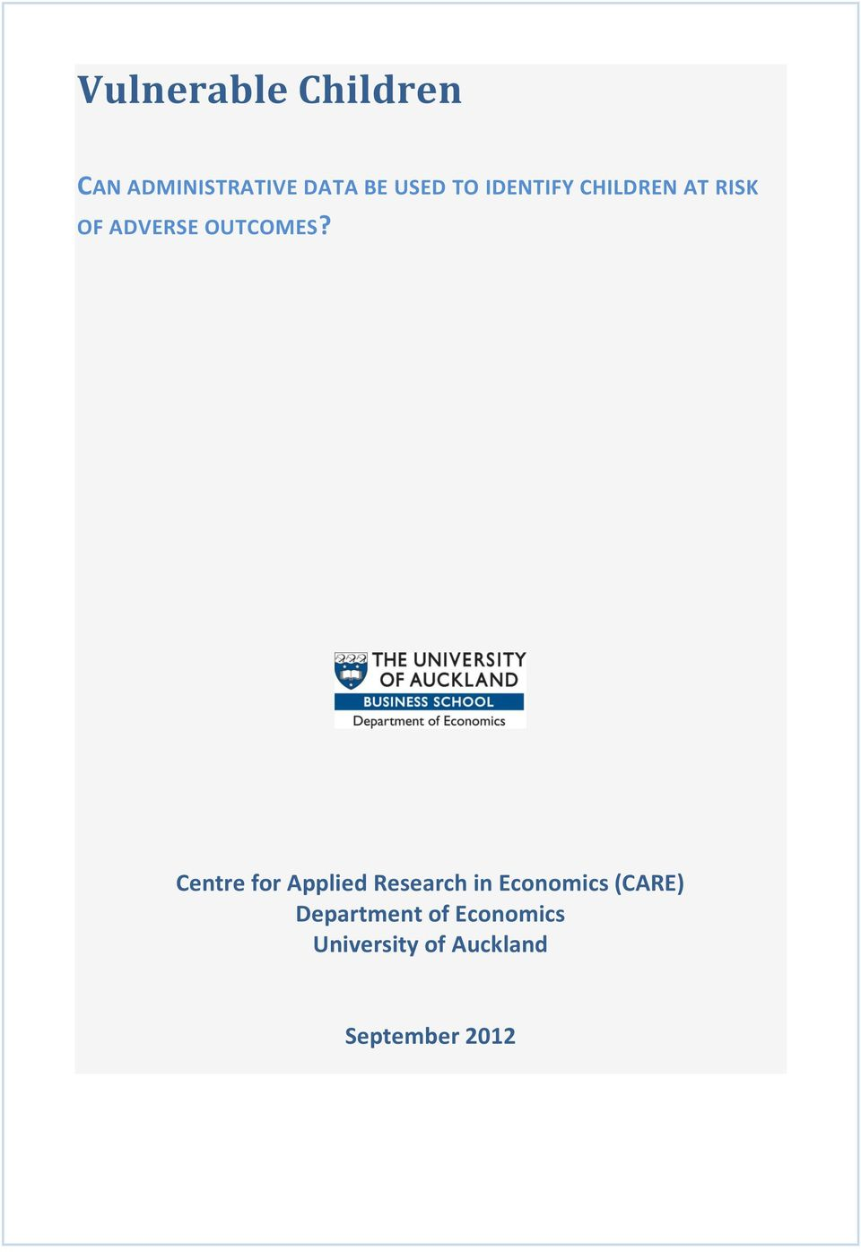 Centre for Applied Research in Economics (CARE)