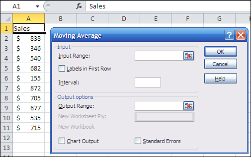 Getting Moving Averages Automatically 77 F i g u r e 3. 1 1 You ll have to scroll down to get to the Moving Average tool. Click the Moving Average item in the list box to select it, and then click OK.