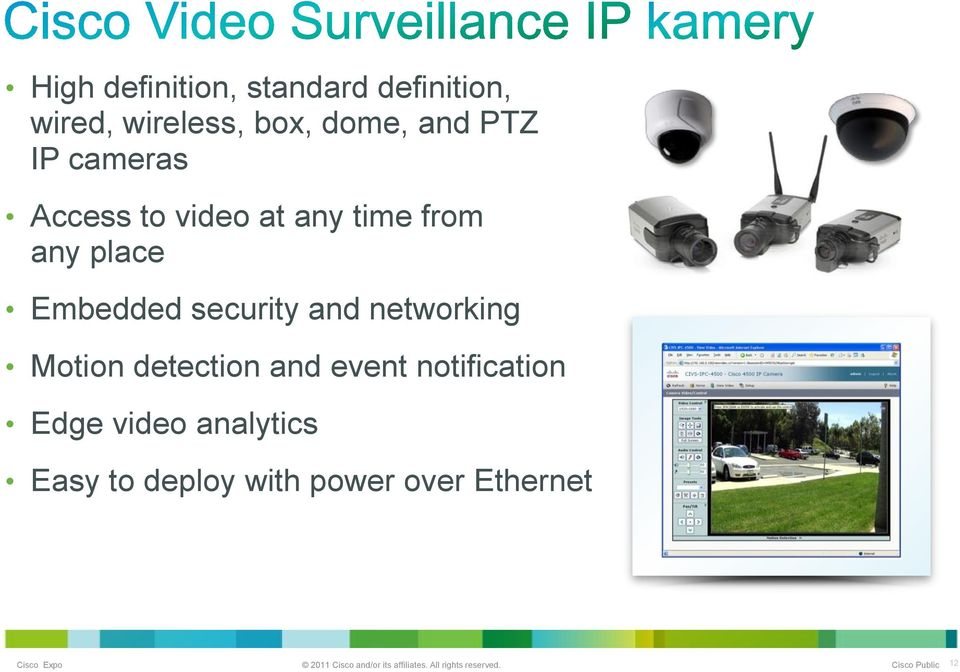 Embedded security and networking Motion detection and event