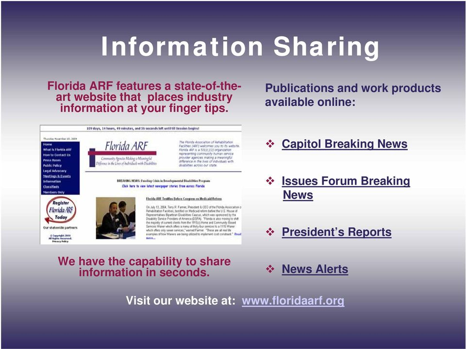 Publications and work products available online: Capitol Breaking News Issues Forum