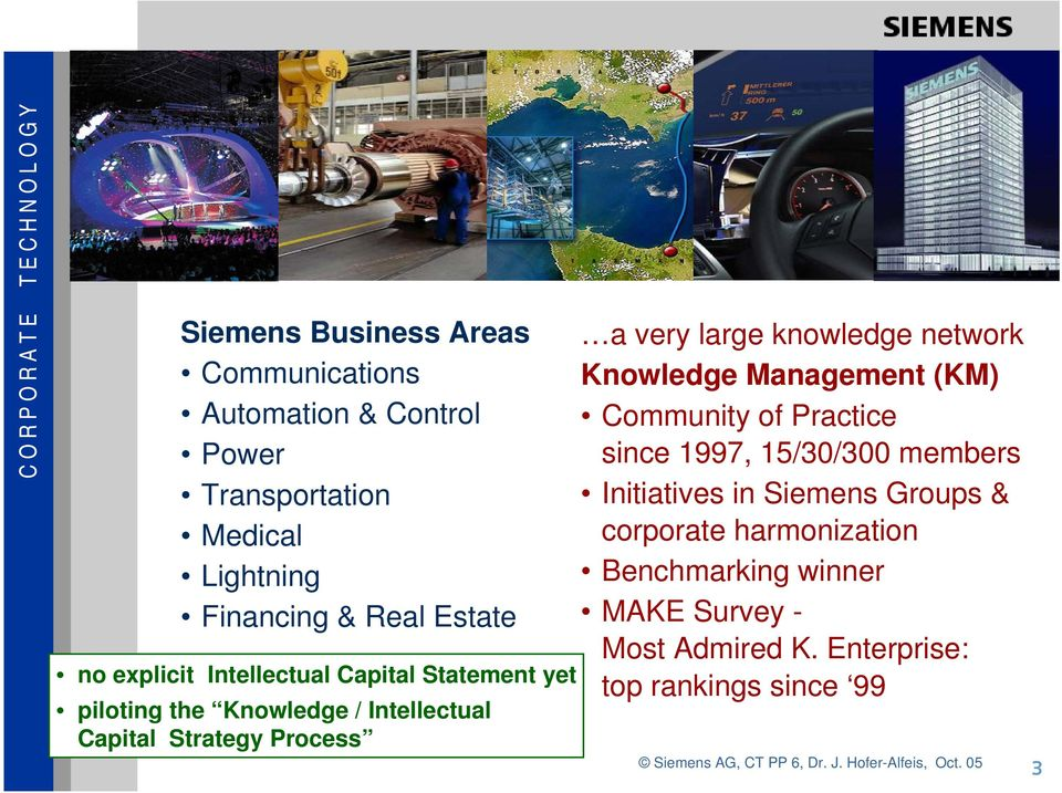 Knowledge Management (KM) Community of Practice since 1997, 15/30/300 members Initiatives in Siemens Groups & corporate