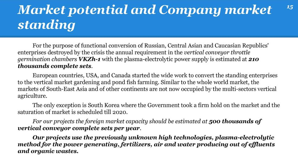 European countries, USA, and Canada started the wide work to convert the standing enterprises to the vertical market gardening and pond fish farming.