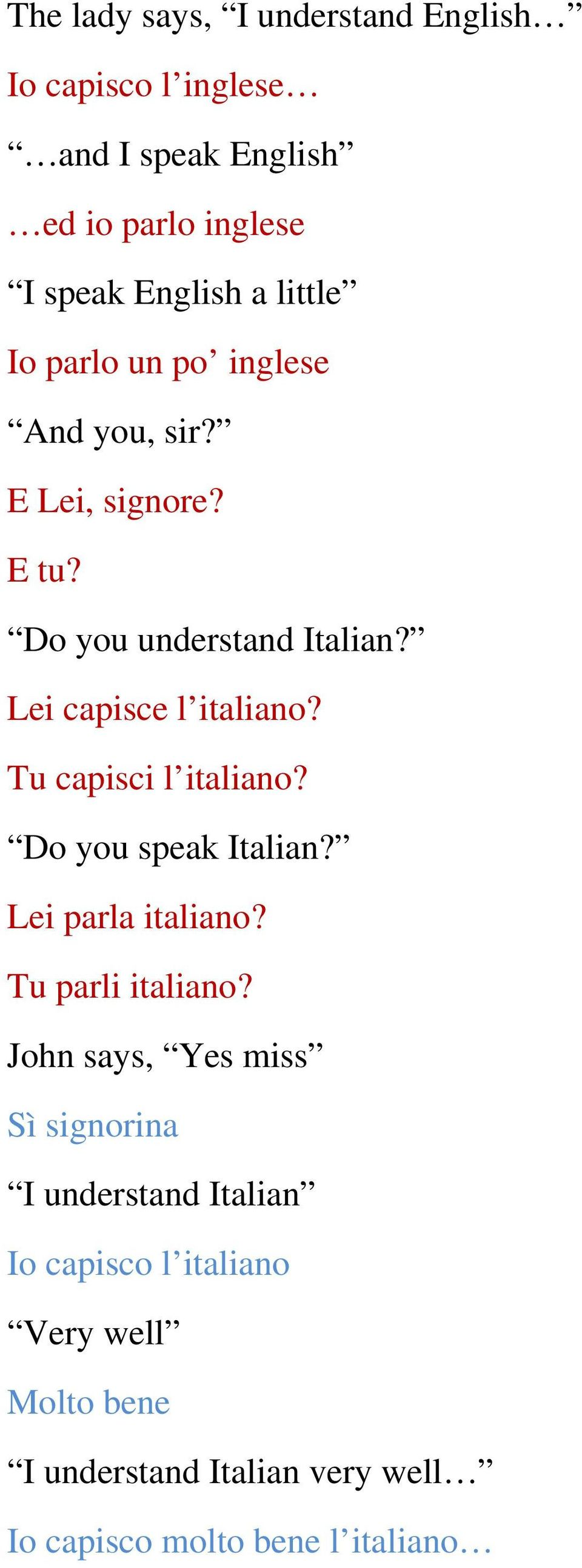 Tu capisci l italiano? Do you speak Italian? Lei parla italiano? Tu parli italiano?