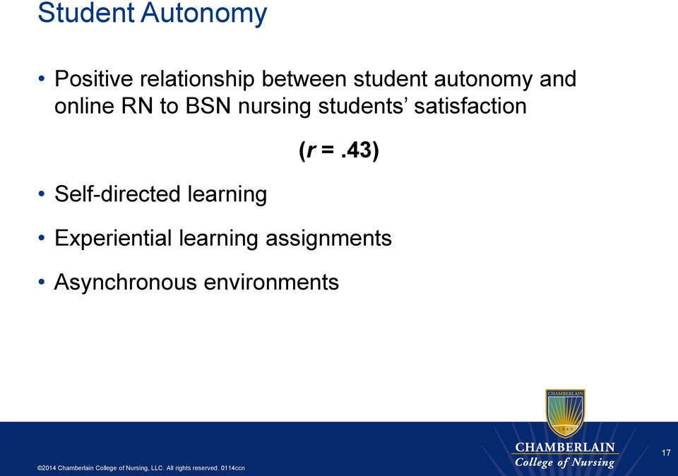students satisfaction Self-directed learning (r =.
