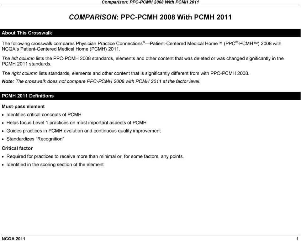 The right column lists standards, elements and other content that is significantly different from with PPC-PCMH 008.