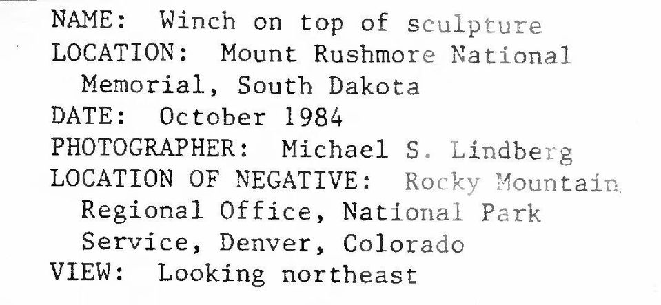 Michael S. Lindberg LOCATION OF NEGATIVE: Rocky Mountain.
