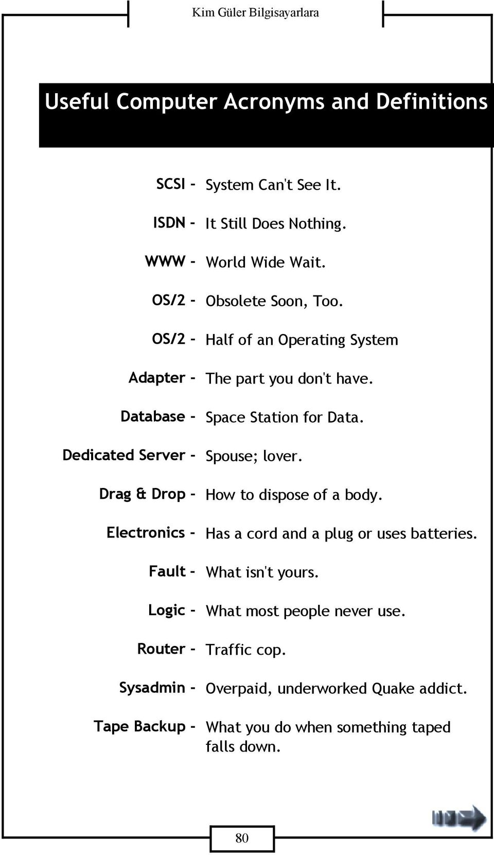 Half of an Operating System The part you don't have. Space Station for Data. Spouse; lover. How to dispose of a body.
