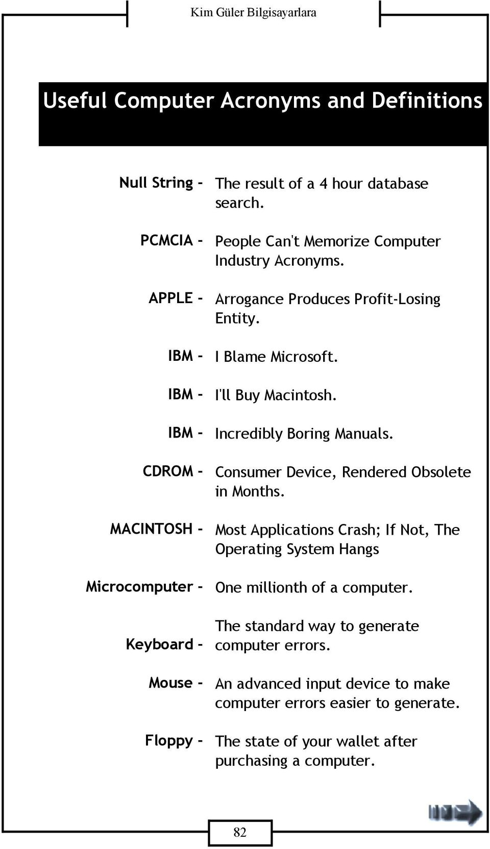 Incredibly Boring Manuals. Consumer Device, Rendered Obsolete in Months. Most Applications Crash; If Not, The Operating System Hangs One millionth of a computer.