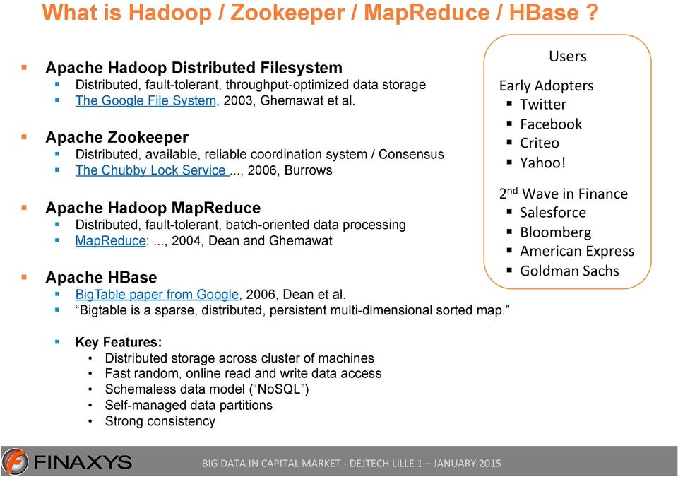 .., 2006, Burrows Apache Hadoop MapReduce Distributed, fault-tolerant, batch-oriented data processing MapReduce:..., 2004, Dean and Ghemawat Apache HBase BigTable paper from Google, 2006, Dean et al.