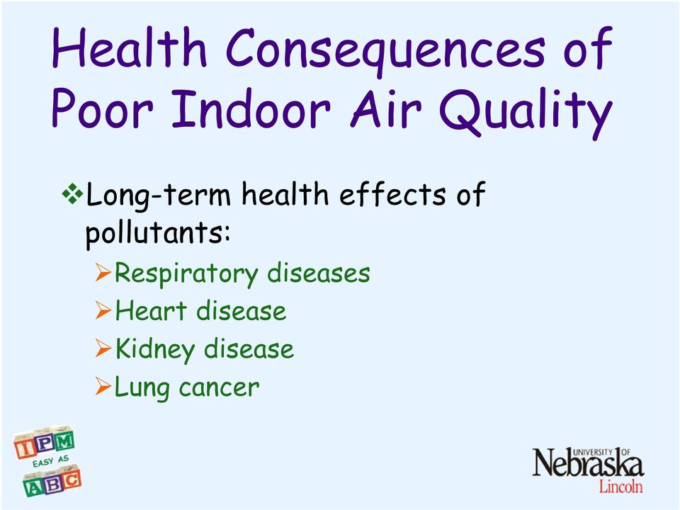 of pollutants: Respiratory diseases