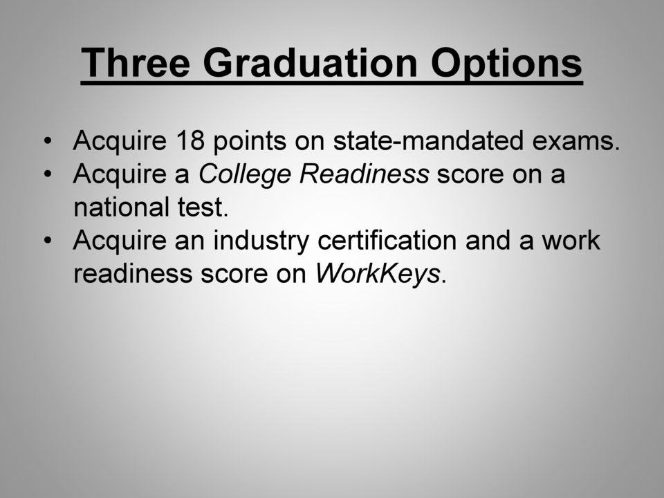 Acquire a College Readiness score on a national