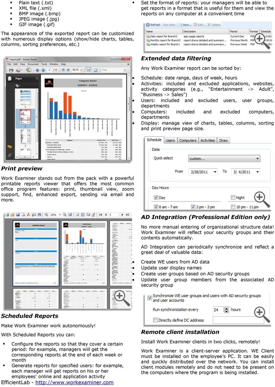 report can be customized with numerous display options (show/hide charts, tables, columns, sorting preferences, etc.