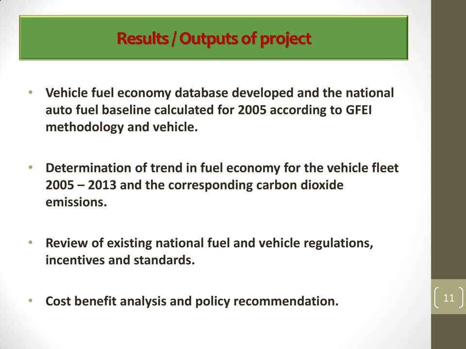 Determination of trend in fuel economy for the vehicle fleet 2005 2013 and the corresponding carbon
