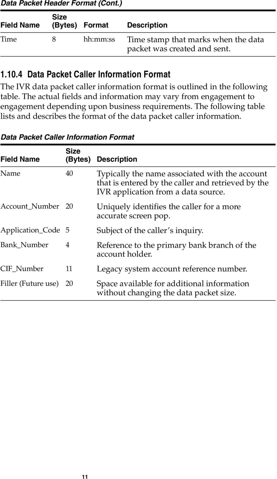 The actual fields and information may vary from engagement to engagement depending upon business requirements. The following table lists and describes the format of the data packet caller information.