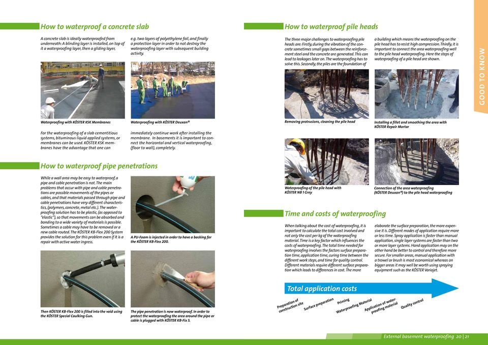 The three major challenges to waterproofing pile heads are: Firstly, during the vibration of the concrete sometimes small gaps between the reinforcement steel and the concrete are generated.